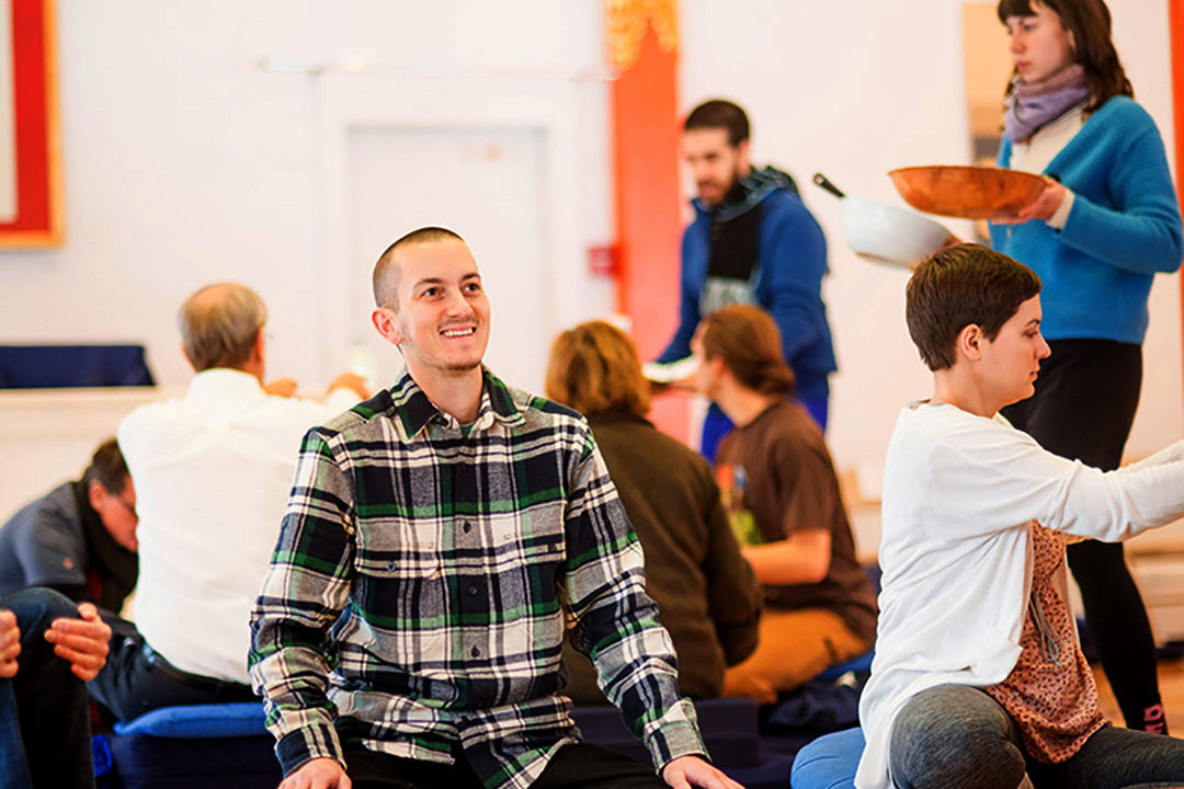 Meditation students on retreat at Karmê Chöling