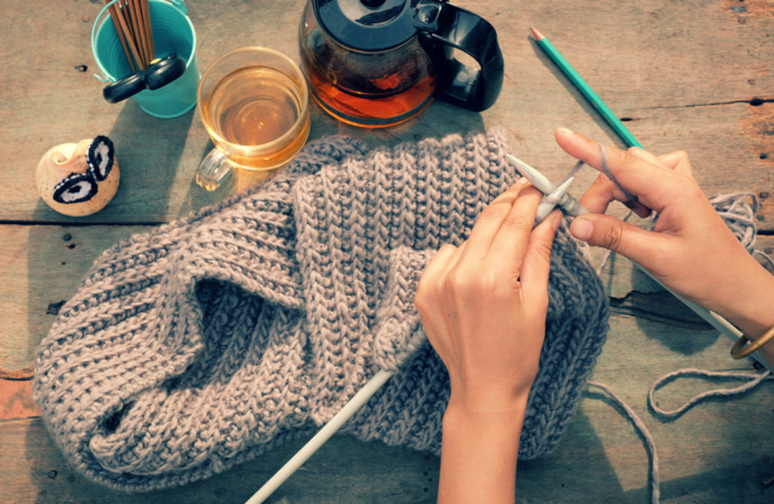 Woman's hands knitting