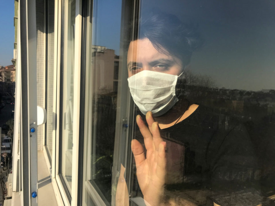 quarantine in lockdown, trapped looking out of window at world