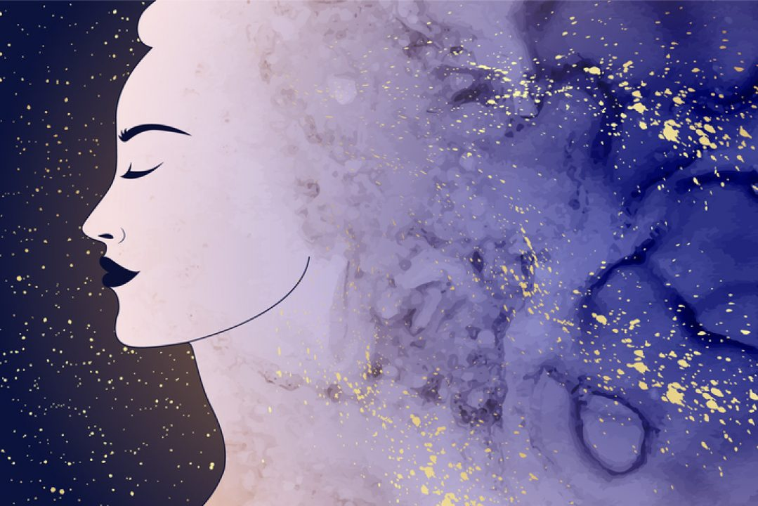 woman in the stars illustration for radiant rest by Tracee Stanley