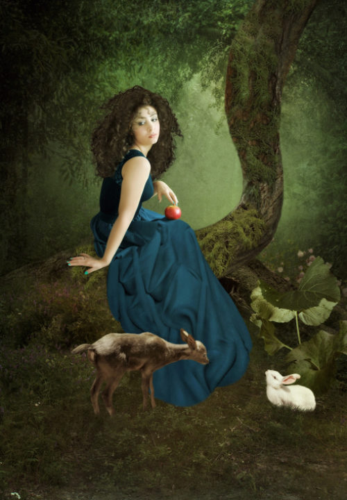 Illustration of woman with deer and apple