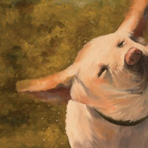 Painting of dog shaking after a swim