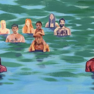 Illustration of bathers in lake