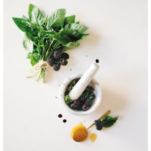 Blackberries and herbs for mask