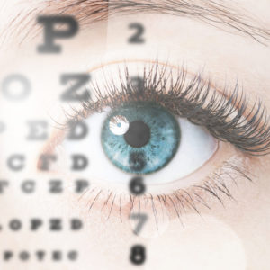 Close up image of blue human eye through eye chart