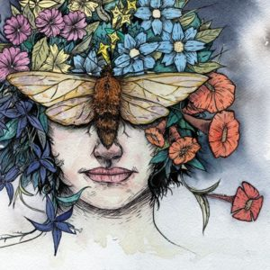 Illustration of woman with flowers and butterflies