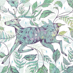 Illustration of dear and leaves