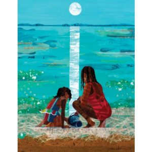 Illustration of woman and child on beach