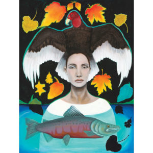 Illustration of woman and bird and salmon
