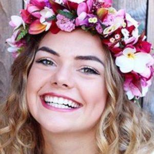 Girl wearing flower garland