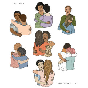 Illustration of people hugging each other