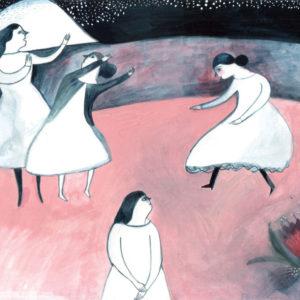 Illustration of women dancing at night