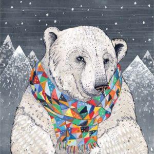 Illustration of polar bear wearing scarf