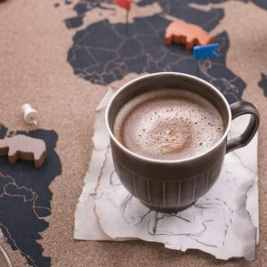 A mug of ethical hot chocolate sits on a map of the world with animal figures.