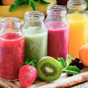 Colorful fruit juices