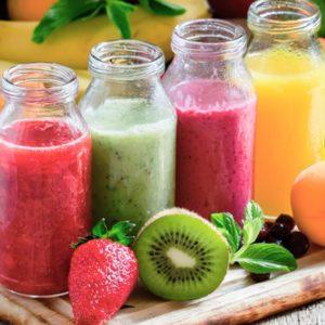 Colorful fruit juices