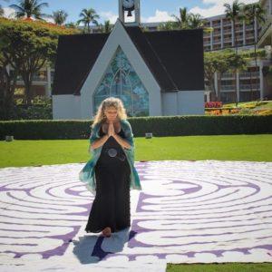 Eve Hogan walking a labyrinth