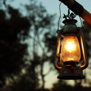 a lantern outdoors