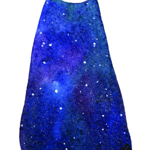 Woman with the universe in her dress