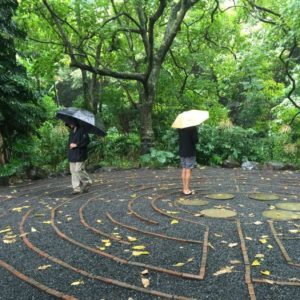 People walking a labyrinth in the rain