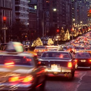 City traffic in holiday season