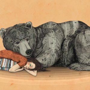 Illustration of bear sleeping with girl