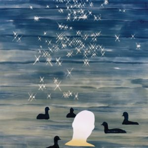 painting of person's head and ducks and stars