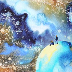 Watercolor image of man in galaxy