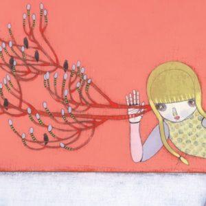 Illustration of girl listening to birds