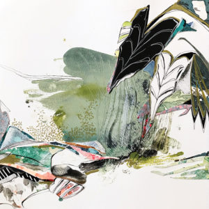 Abstract painting of landscaping