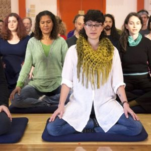 meditators on retreat
