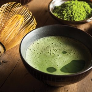 Matcha tea and tea wisk