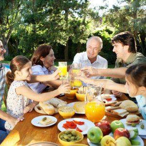 Large family eating dinner together