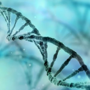 DNA stand on blue and green background