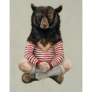 illustration of human with bear head