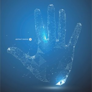 bright light hand outline
