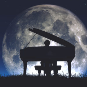 Piano and giant moon