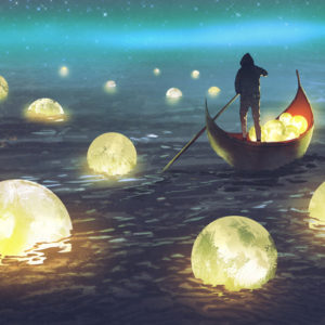 Man in a boat harvesting moons in the sea