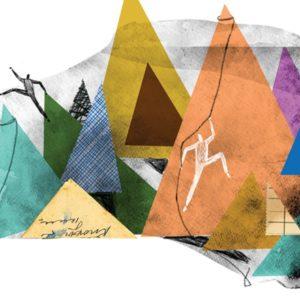 Abstract illustration of mountain climbing