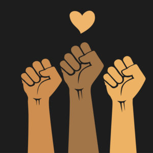 Multiracial human hands raised with clenched fists and heart shape. Protest for and civil rights, Black Lives Matter