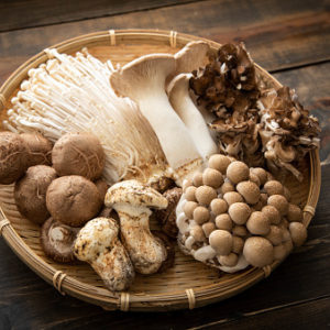 Basket of Japanese mushrooms