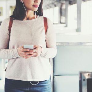 Listening to music on train