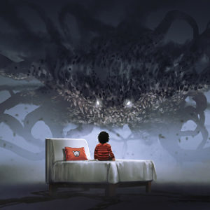 Nightmare concept illustration of a boy on a bed facing a giant monster in the dark land
