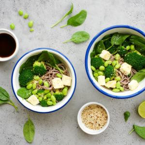 Peas and tofu prepared for eating