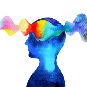 A wave of color passes through a person's mind.