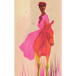 illustration of women in pink on a pink horse