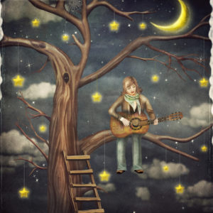 Playing a guitar in the tree with stars
