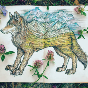 Wolf and mountains illustration on notepad