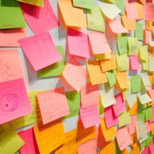 Wall of colorful sticky notes