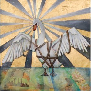 Illustration of swan in bondage